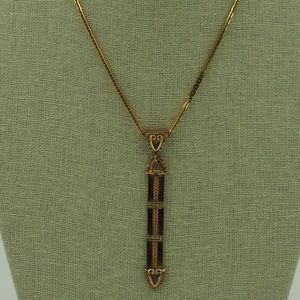 VTG Art Deco 1955 Monet Gold Plate Necklace_HRV